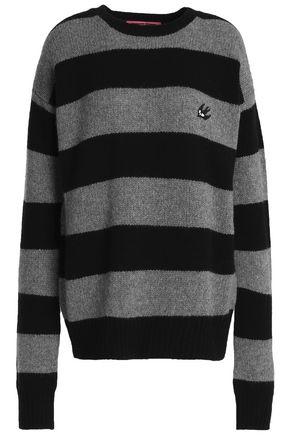 McQ Alexander McQueen Appliquéd striped wool and cashmere-blend sweater