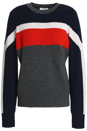 FRAME Striped cashmere and wool-blend intarsia-knit top