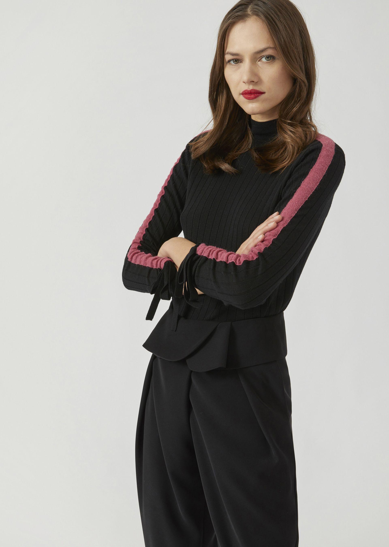 Striped Sleeve & Tie Detail Wool Sweater, Black from ARMANI.COM