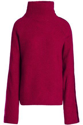 HAIDER ACKERMANN Velvet-trimmed ribbed wool and cashmere-blend turtleneck sweater