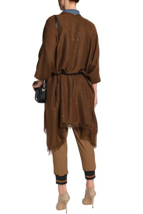BRUNELLO CUCINELLI Fringe-trimmed sequin-embellished cashmere-blend cape