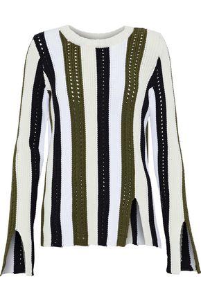 DEREK LAM 10 CROSBY Pointelle-trimmed striped cotton-blend sweater