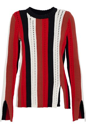 DEREK LAM 10 CROSBY Pointelle-trimmed striped cotton-blend sweater