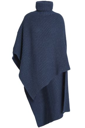 AGNONA Asymmetric ribbed cashmere turtleneck poncho