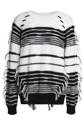 ANTIK BATIK Fringe-trimmed striped knitted sweater