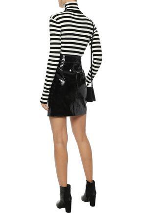 MAJE Molleton striped stretch-knit turtleneck top