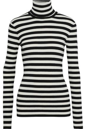 MAJE Molleton striped stretch-knit turtleneck top