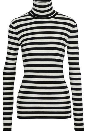 MAJE Moleton striped intarsia-knit turtleneck top