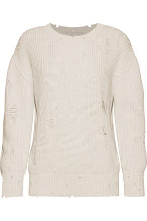 IRO Distressed ribbed cotton sweater