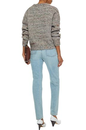 IRO Mélange ribbed wool, alpaca and silk-blend sweater