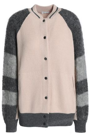 BRUNELLO CUCINELLI Color-block mohair-blend and ribbed cashmere cardigan