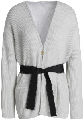 BRUNELLO CUCINELLI Belted ribbed-knit cardigan