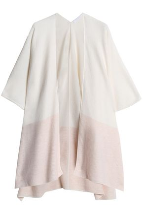 DUFFY Two-tone wool and cashmere-blend poncho