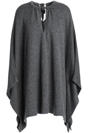 BRUNELLO CUCINELLI Embellished cashmere and silk-blend poncho