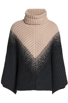 BRUNELLO CUCINELLI Two-tone ribbed cashmere turtleneck poncho