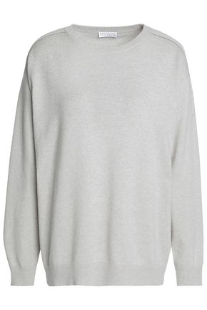BRUNELLO CUCINELLI Bead-embellished wool, cashmere and silk-blend sweater
