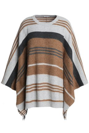 BRUNELLO CUCINELLI Striped ribbed wool, cashmere and silk-blend poncho