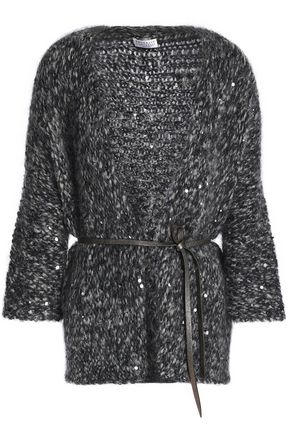 BRUNELLO CUCINELLI Belted sequin-embellished marled bouclé-knit cardigan