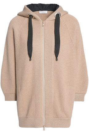 BRUNELLO CUCINELLI Bead-embellished ribbed cashmere hoodie