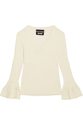 BOUTIQUE MOSCHINO Fluted ribbed wool sweater