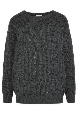 BRUNELLO CUCINELLI Sequin-embellished ribbed cashmere sweater