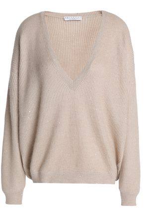BRUNELLO CUCINELLI Sequin-embellished ribbed-knit sweater