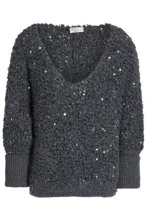 BRUNELLO CUCINELLI Sequin-embellished bouclé-knit sweater