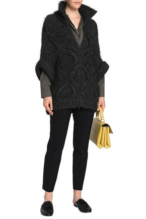 BRUNELLO CUCINELLI Cable-knit wool-blend turtleneck cardigan