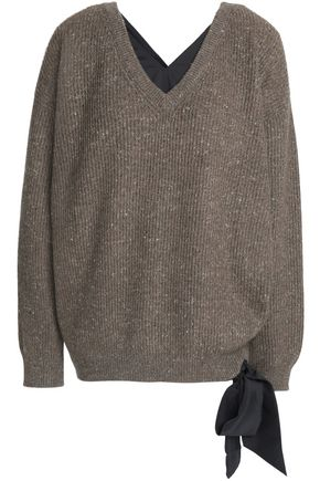 BRUNELLO CUCINELLI Satin-trimmed marled ribbed cashmere-blend sweater