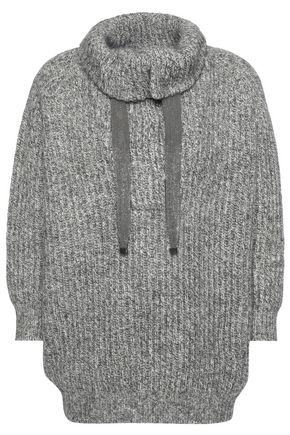 Brunello Cucinelli Ribbed Embellished Cashgora Wool Cashmere And Silk Blend Sweater