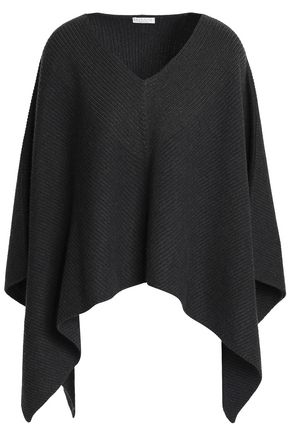 BRUNELLO CUCINELLI Bead-embellished ribbed cashmere poncho