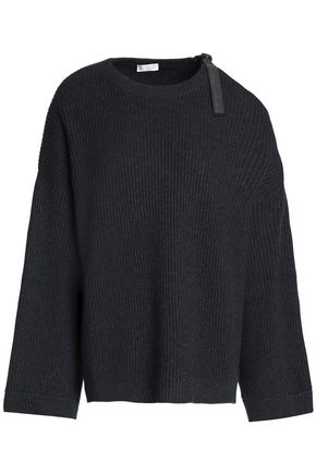 BRUNELLO CUCINELLI Cutout bead-embellished ribbed cashmere sweater