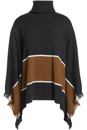 BRUNELLO CUCINELLI Fringe-trimmed striped cashmere turtleneck poncho