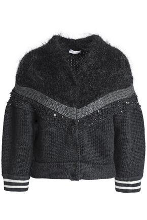 BRUNELLO CUCINELLI Paneled embellished cashmere cardigan