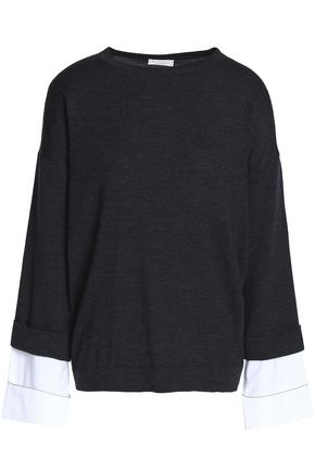 BRUNELLO CUCINELLI Bead-embellished poplin-trimmed wool and cashmere-blend sweater