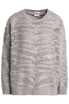 BRUNELLO CUCINELLI Embellished open-knit cashmere sweater