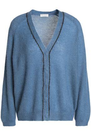 BRUNELLO CUCINELLI Bead-embellished ribbed-knit cardigan