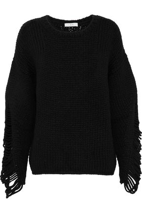 IRO Distressed ribbed wool-blend sweater
