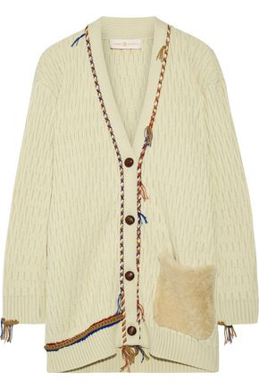 TORY BURCH Shearling-trimmed embroidered wool-jacquard sweater