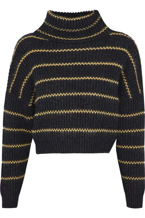 BRUNELLO CUCINELLI 装飾付き ストライプ リブ編み カシミヤ セーター