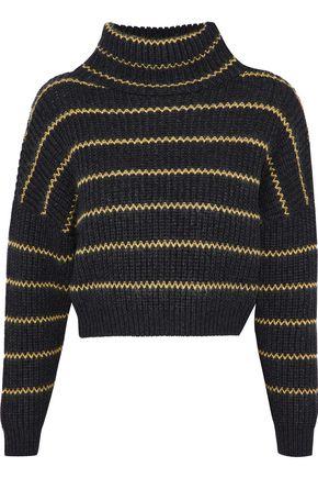 BRUNELLO CUCINELLI Bead-embellished striped cashmere turtleneck sweater