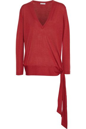 Tie Detailed Cashmere And Silk Blend Sweater by Brunello Cucinelli