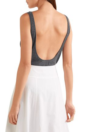MADELEINE THOMPSON Open-back ribbed cashmere bodysuit