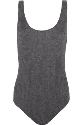 MADELEINE THOMPSON Open-back ribbed cashmere bodysuit