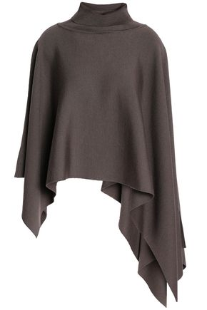 JIL SANDER Draped ribbed wool-blend turtleneck poncho
