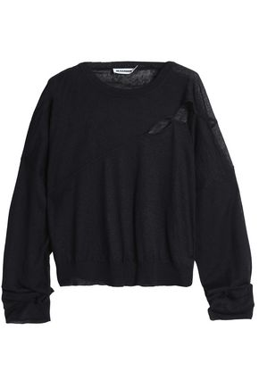 JIL SANDER Cutout linen, cashmere and silk-blend sweater