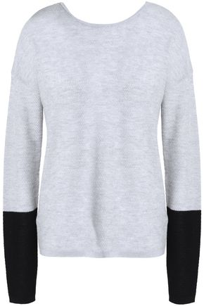 DUFFY Two-tone cashmere and merino wool-blend sweater