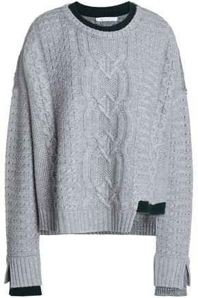 DUFFY Asymmetric cable-knit llama and cashmere-blend sweater