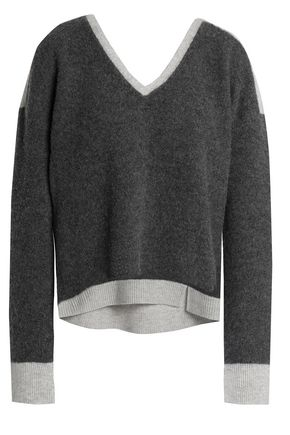 DUFFY Two-tone wool and cashmere-blend sweater