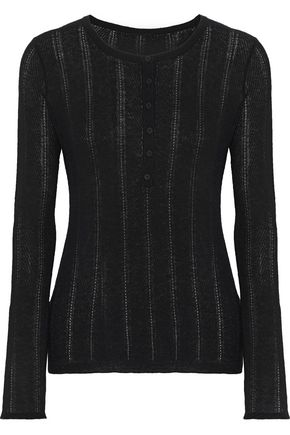 ELIE TAHARI Corette pointelle-knit wool-blend top